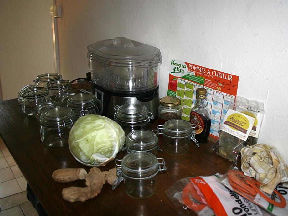 Les bocaux à éboullanter avant de les remplir et quelques ingrédients - Photo Kazamarie